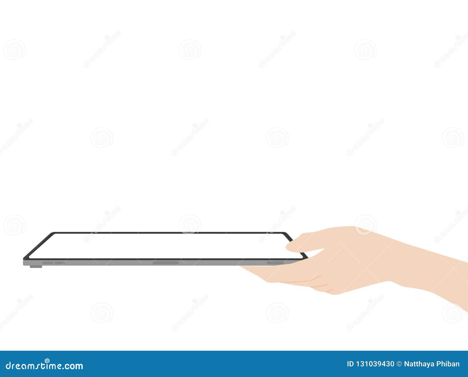 Задвижка руки и указать на технологию выдвижения дизайна нового сильного планшета новую