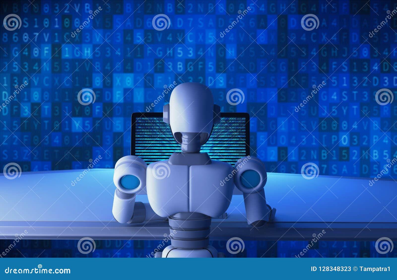 Задний взгляд робота используя компьютер с двоичными данными нумерует код