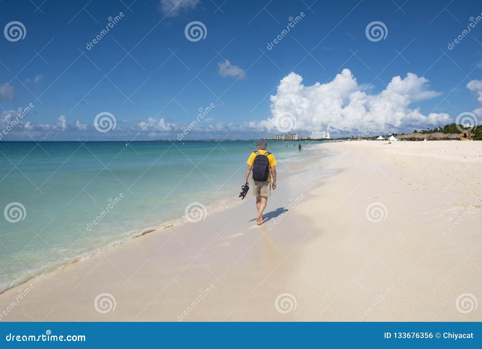 Задний взгляд человека идя на карибский пляж 3