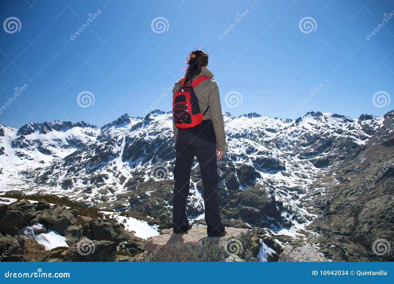 Задний рюкзак красного цвета женщины
