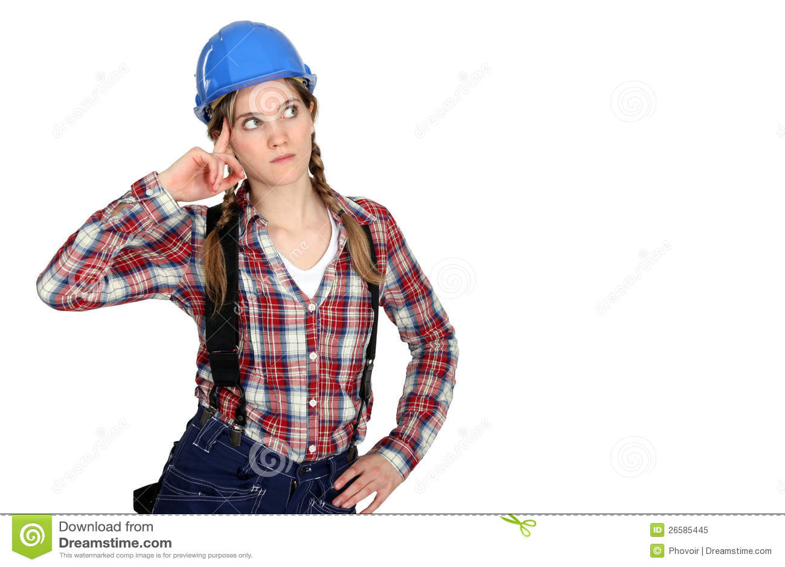 Задумчивый женский строитель