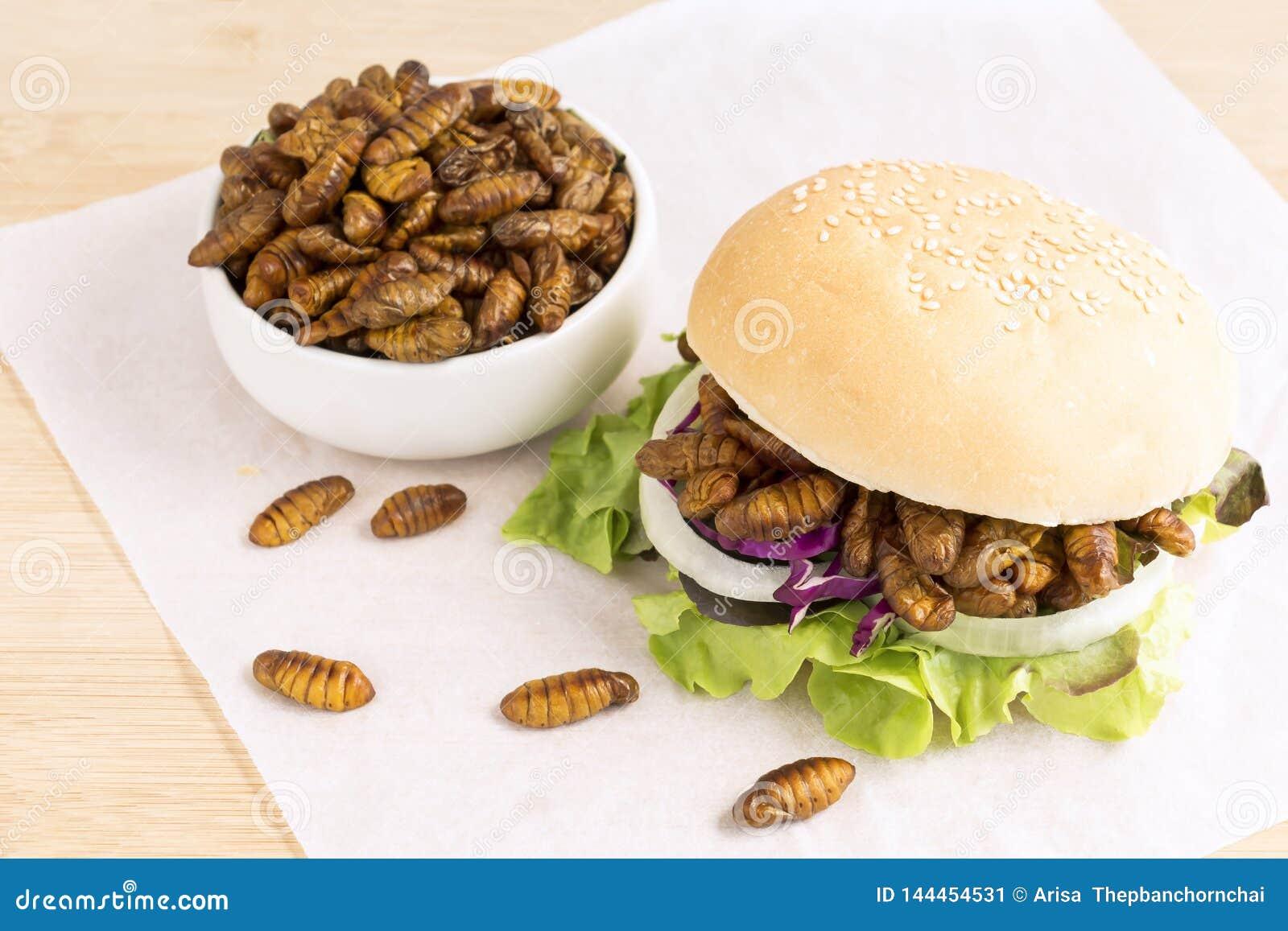 Зажаренные насекомое червя или шелкопряд Chrysalis для еды как продукты питания в бургере хлеба с овощем на деревянном столе, хор