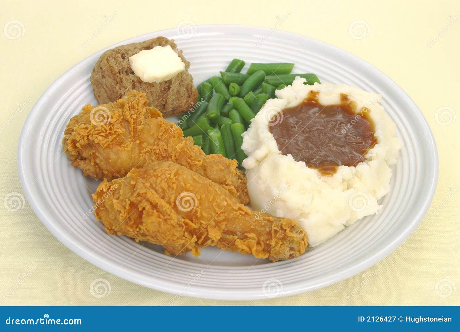 зажаренный обед цыпленка