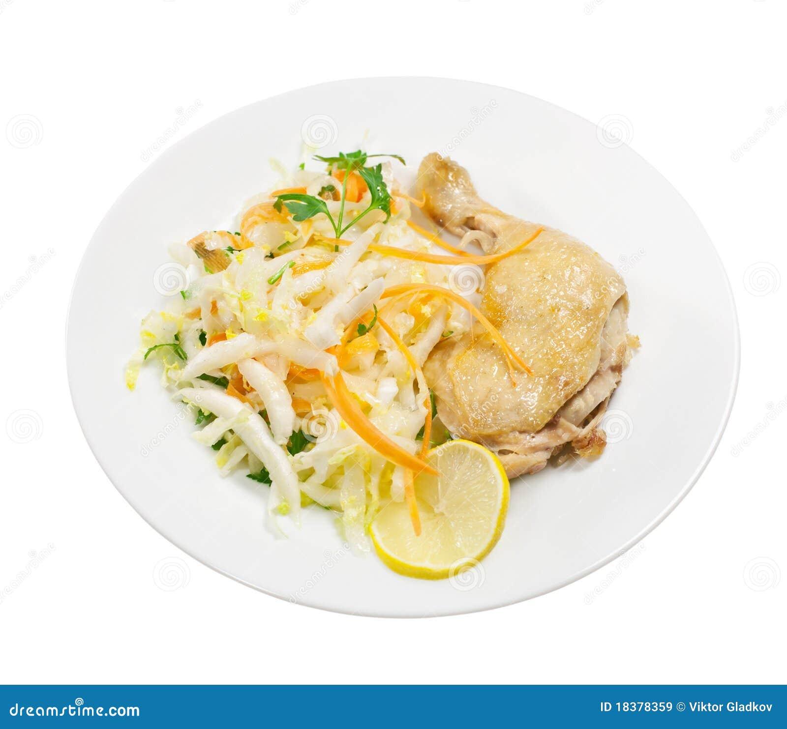 зажаренный салат куриц