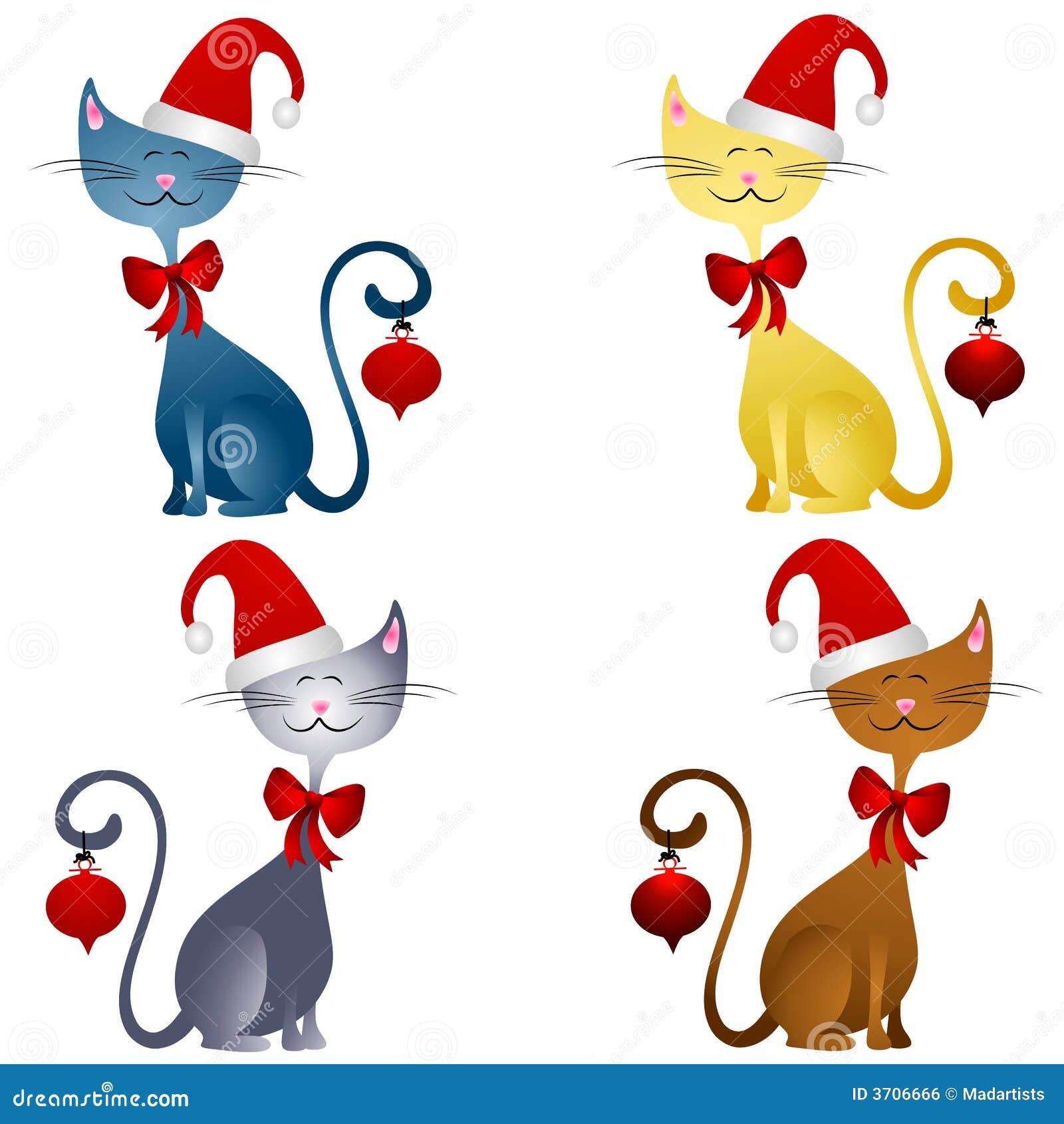 зажим рождества 2 котов шаржа искусства