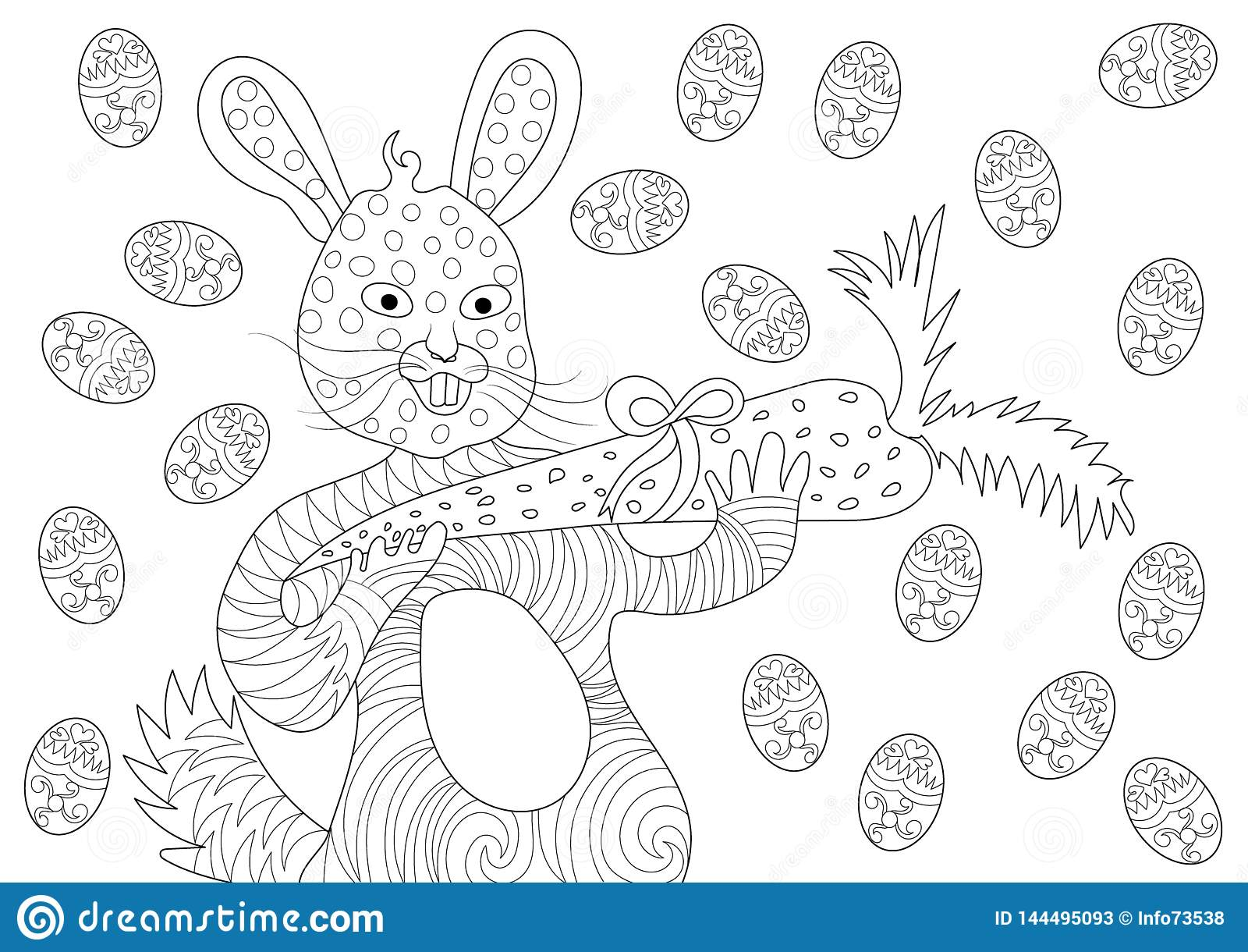 Зайчик пасхи есть морковь и счастливое с яйцами в картине книжка-раскраски