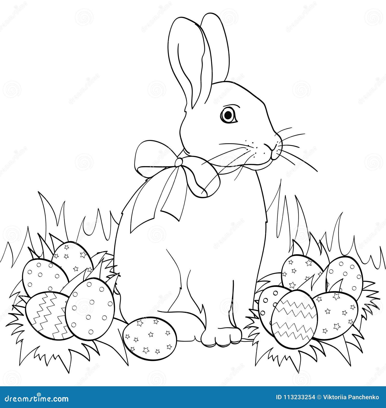 зайчик пасхи на зеленой траве пасхальных яйцах книжка