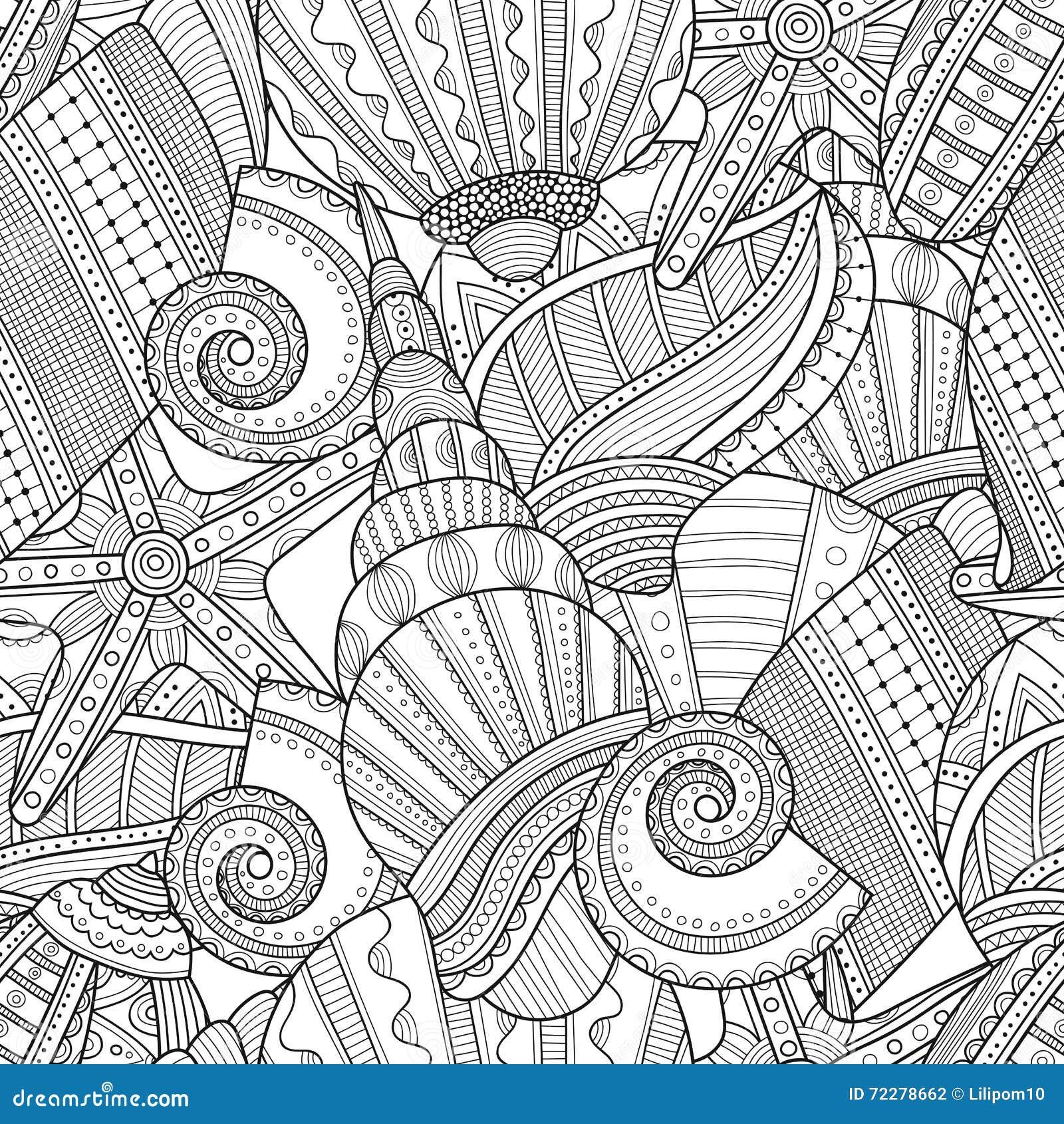 Download закрепляя изолированное море путя обстреливает белизну Черно-белая безшовная картина для книжка-раскраски, Иллюстрация вектора - иллюстрации насчитывающей aquatics, baxter: 72278662