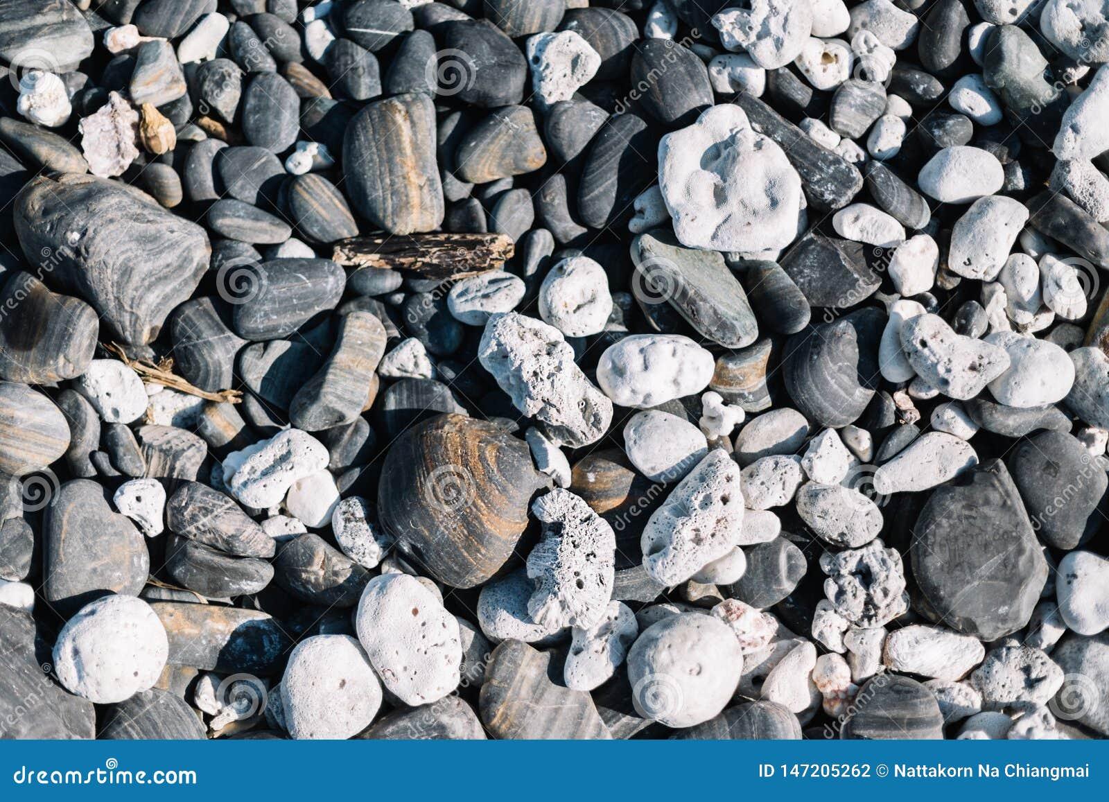 Закройте вверх округленных камней пляжа и камней камешка