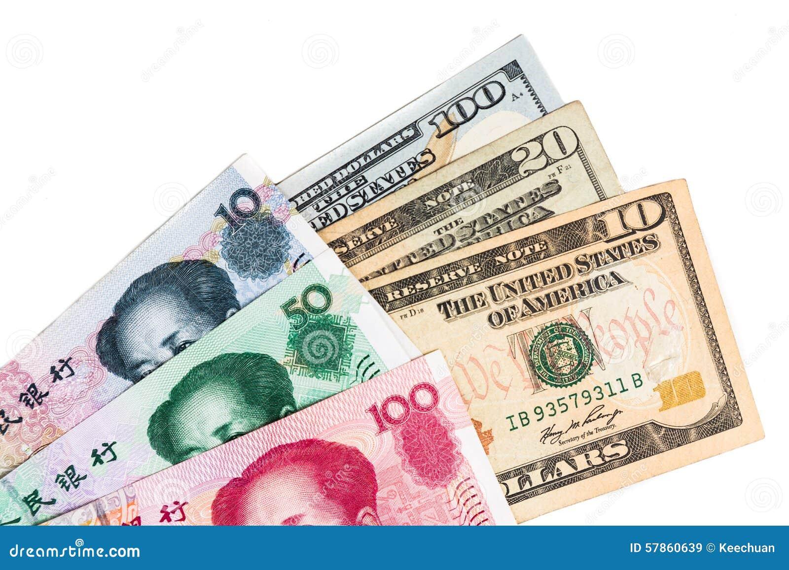 Закройте вверх примечания валюты Renminbi юаней Китая против доллара США