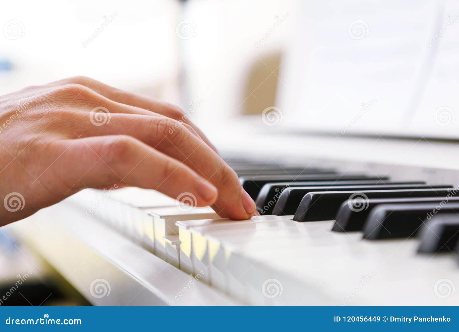 Закройте вверх руки пианистов играя рояль Отмело глубоко поля