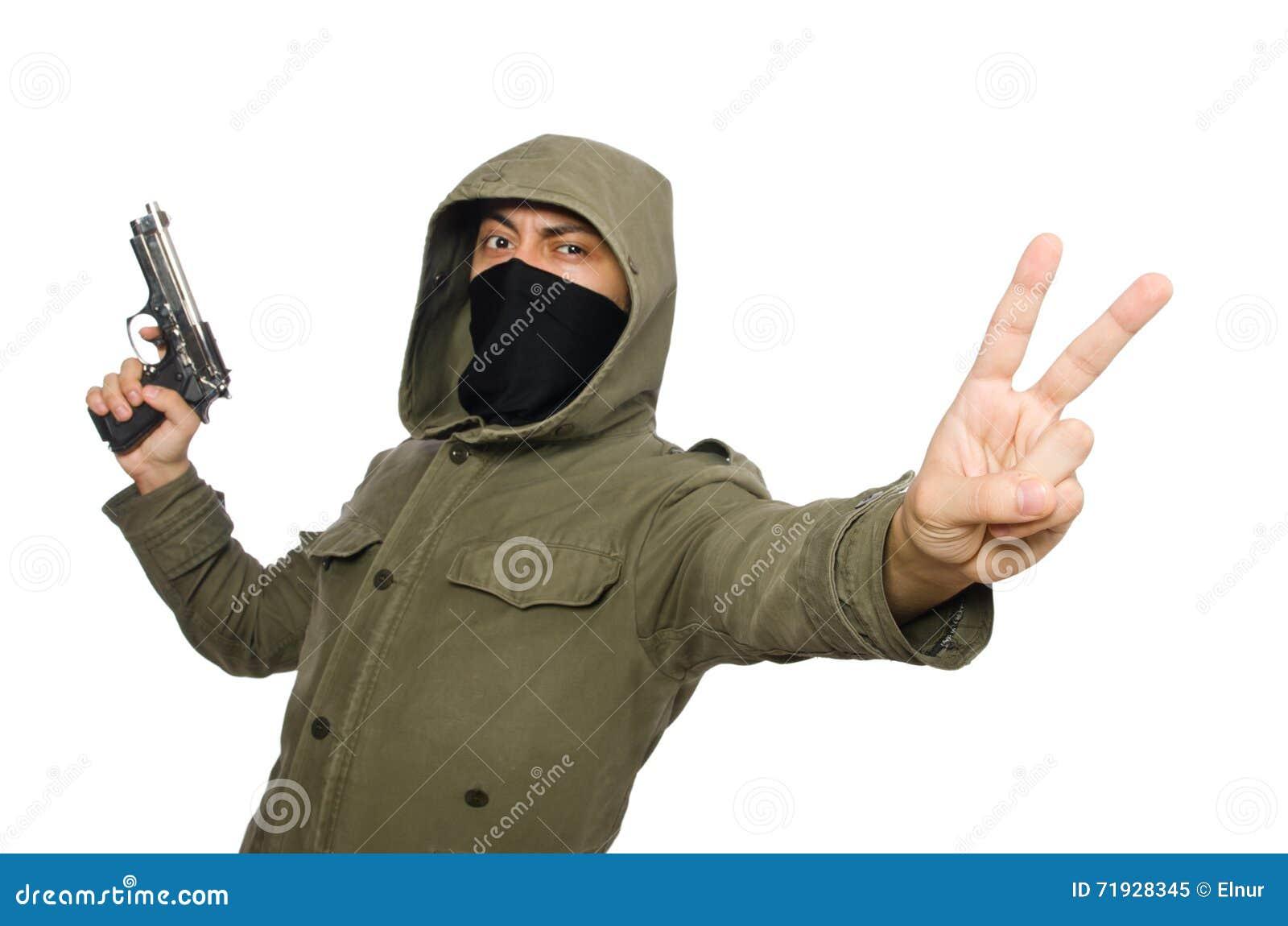 Замаскированный человек в уголовной концепции на белизне