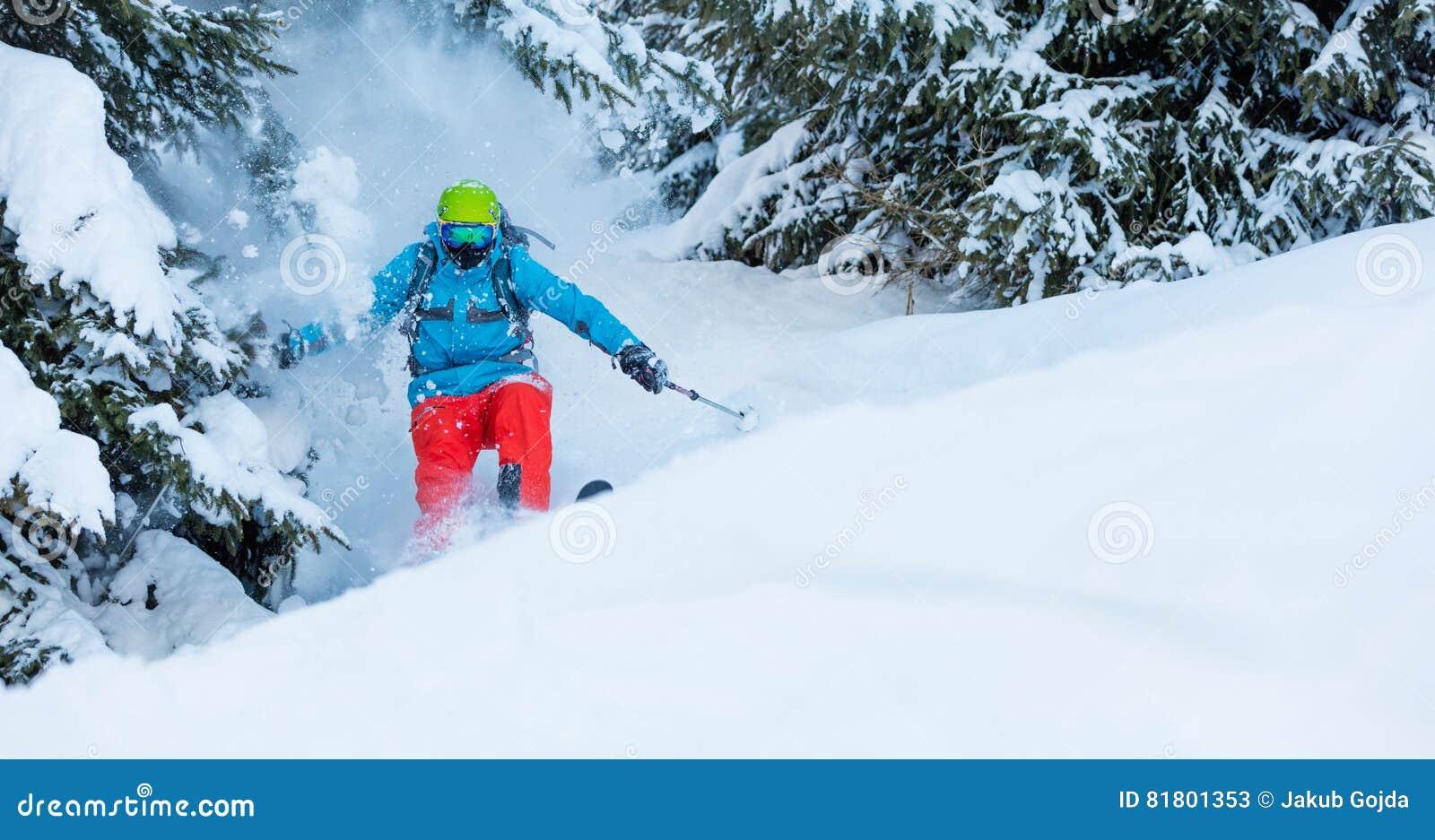 Замерзните движение freerider в глубоком снеге порошка