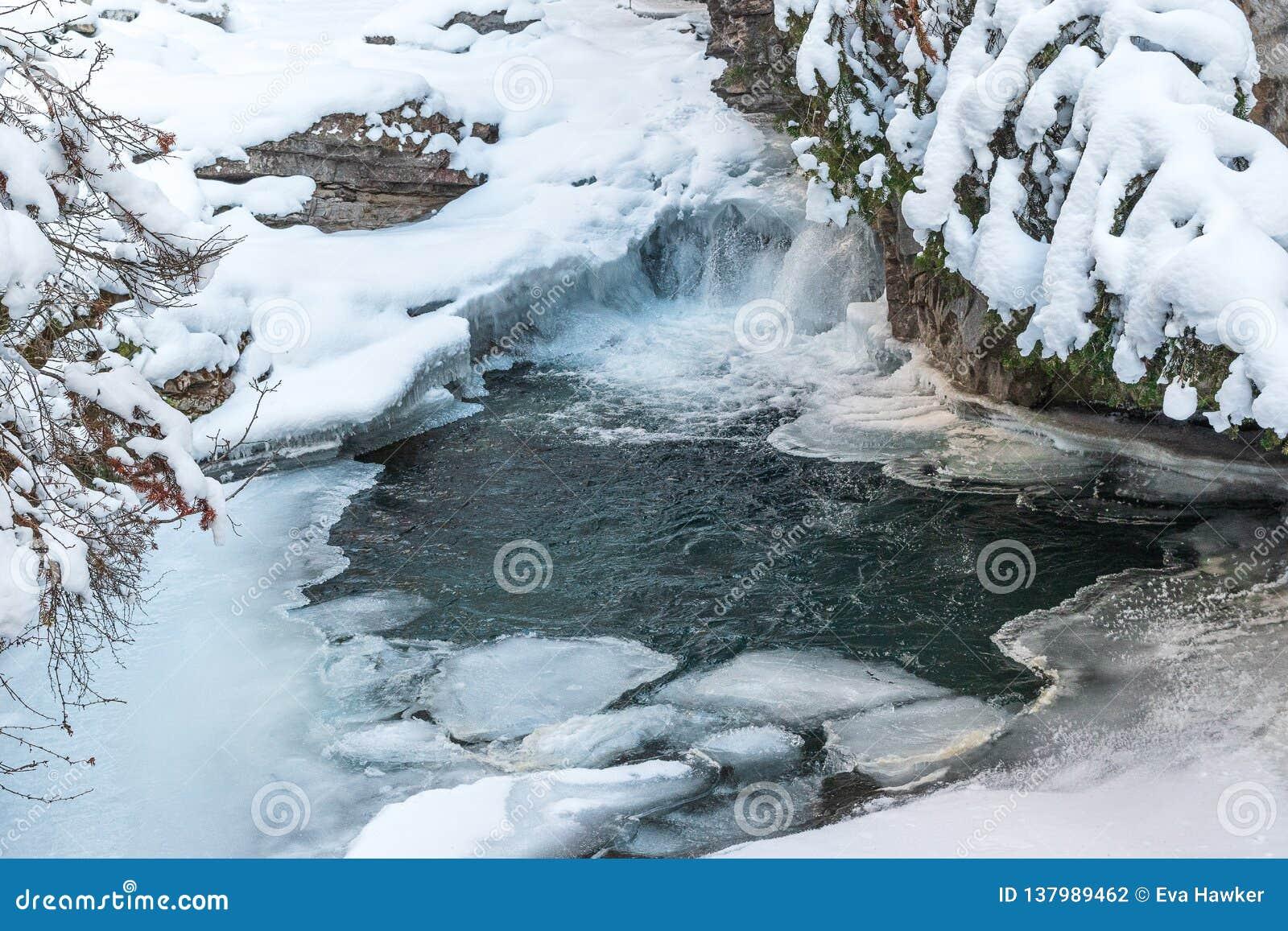 Замерли водопады каньона Johnston в национальном парке Banff, Канаде