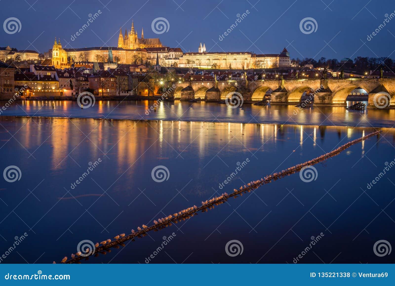 Замок и Карлов мост Праги на ноче, чехии