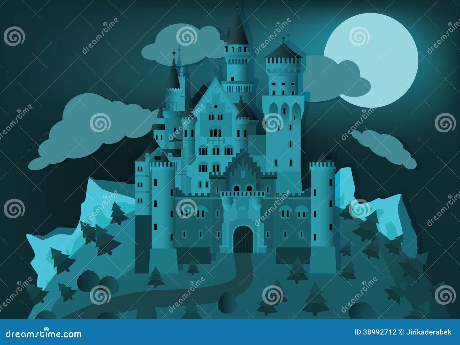 Замок сказки в ноче