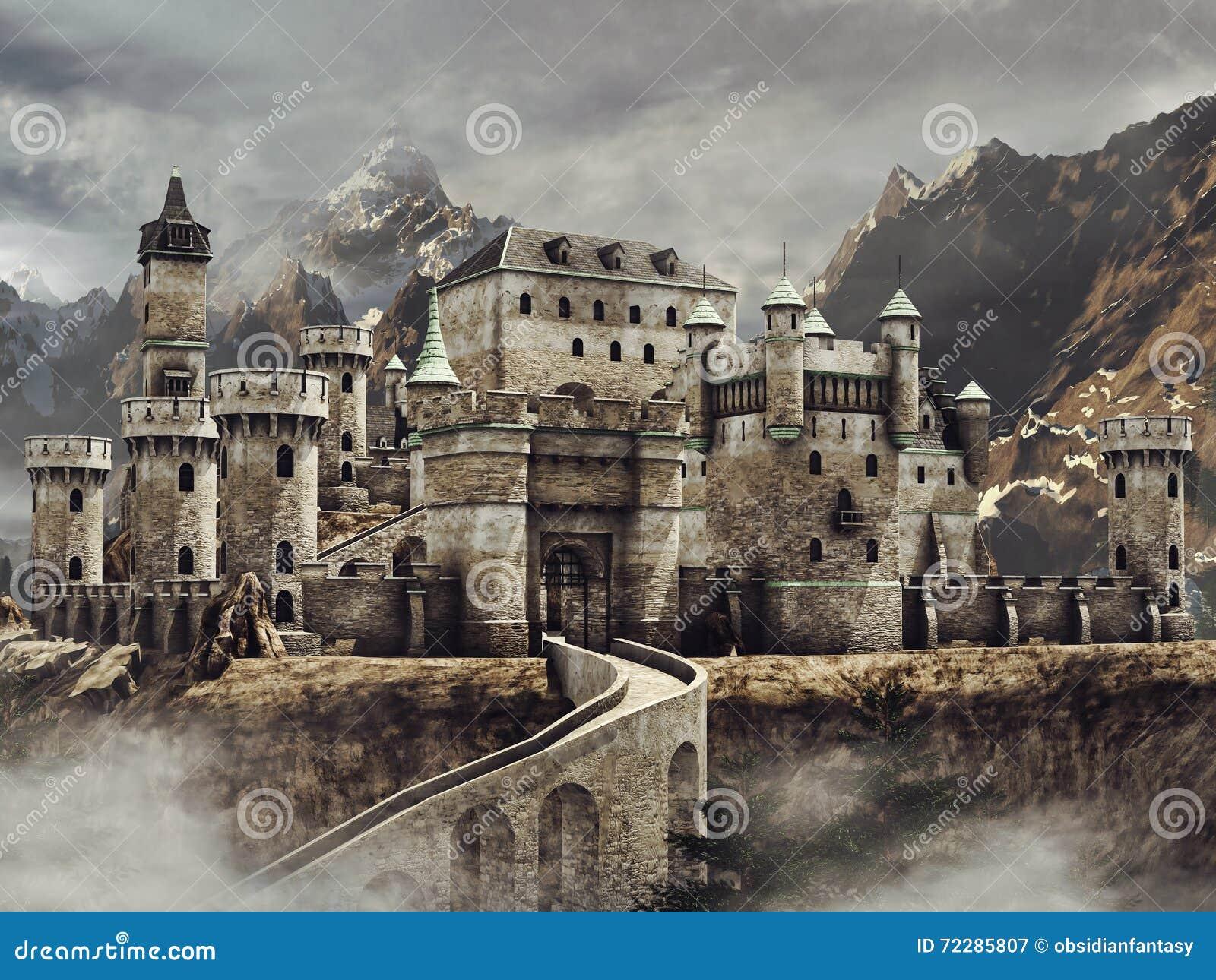 Download Замок фантазии в горах иллюстрация штока. иллюстрации насчитывающей замок - 72285807