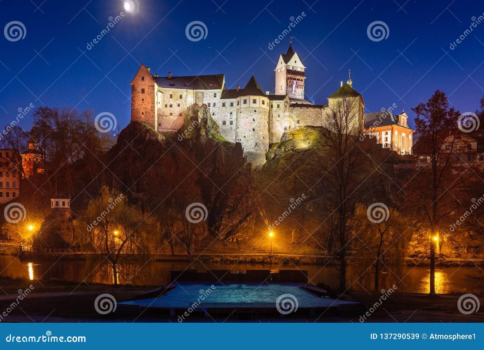 Замок Loket в зиме, длинной выдержке ночи с красивым голубым небом и желтых светах города рождества улицы с взглядом на реке