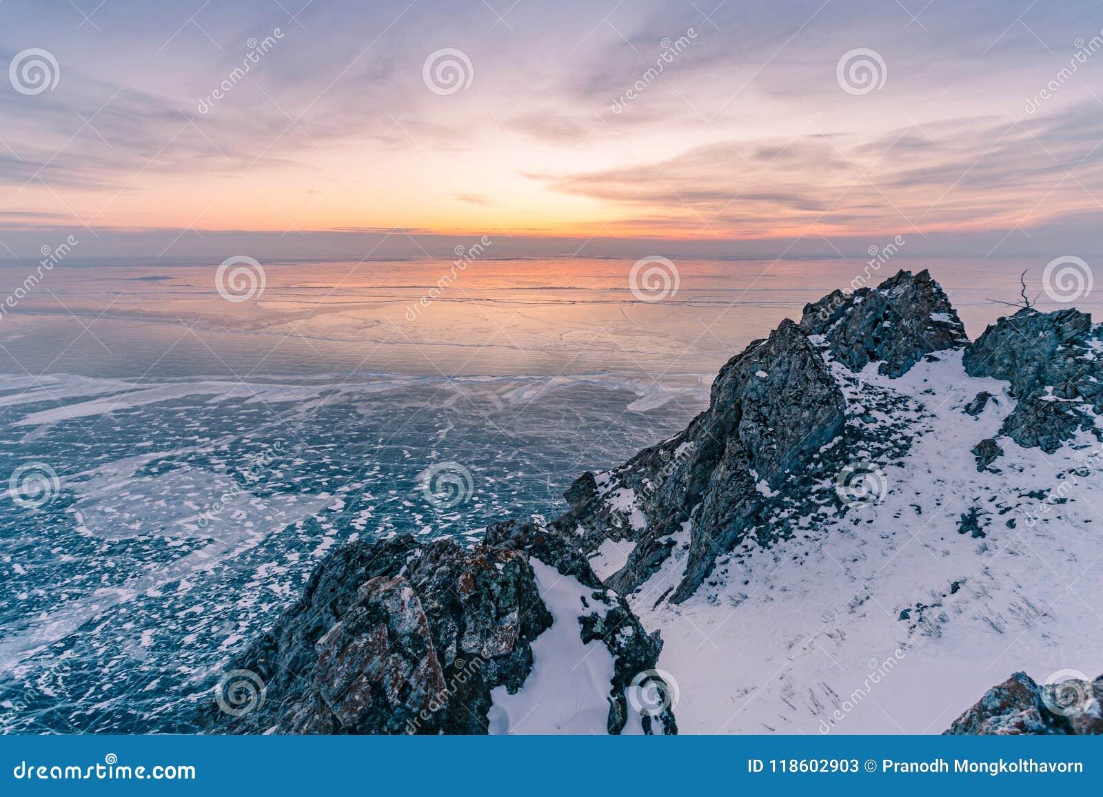 Замороженная зима Lake Baikal Сибирь Россия