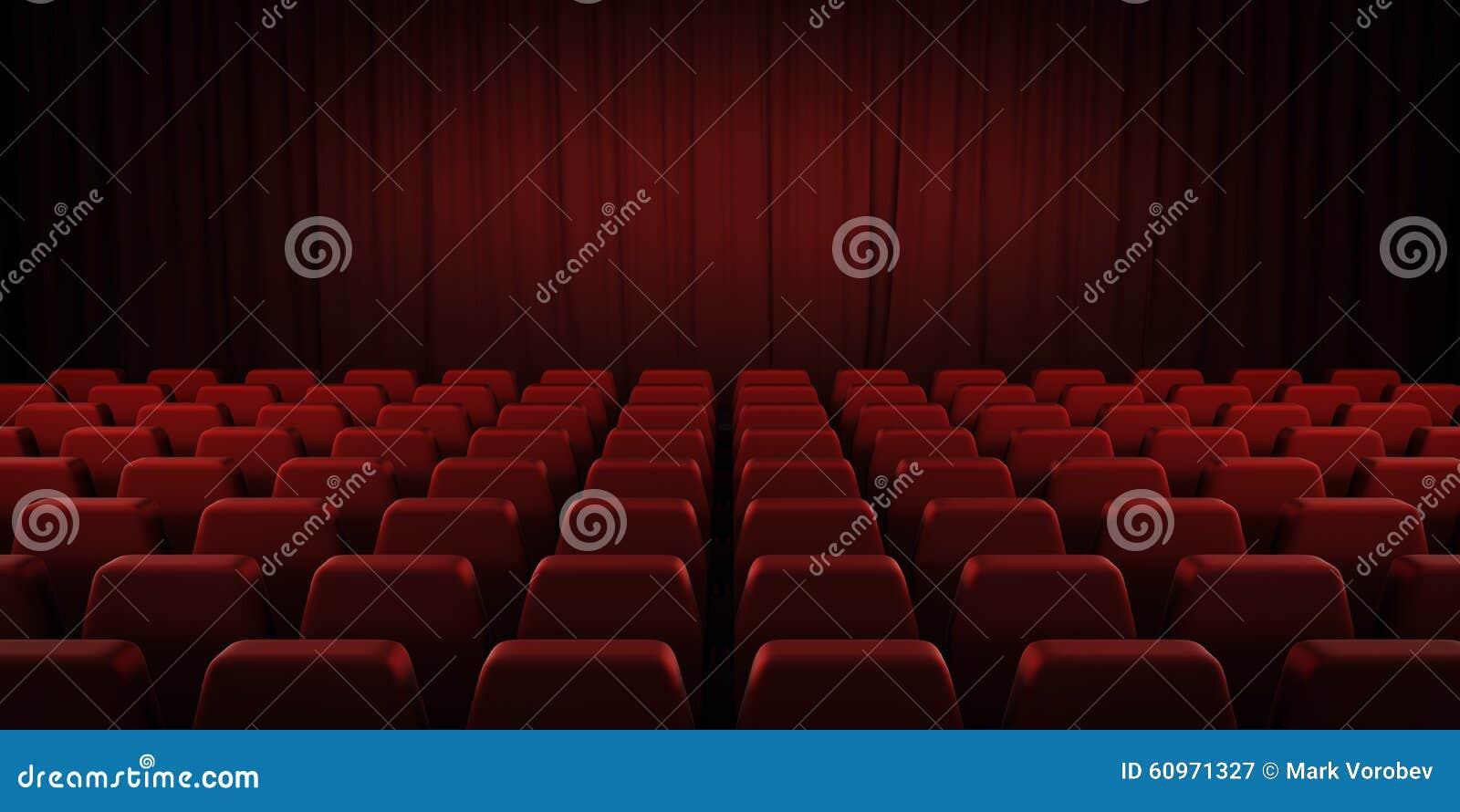 Занавесы и места закрытого театра красные 3d