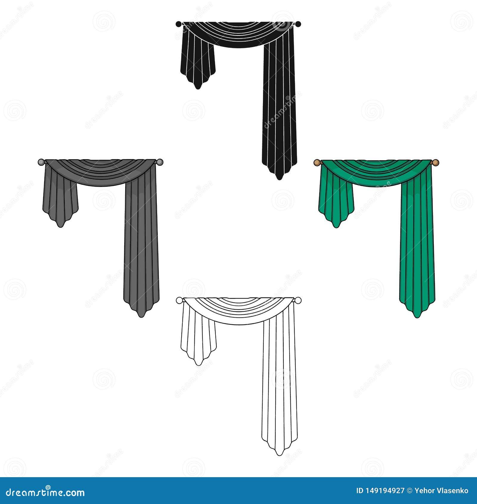 Занавесы с drapery на карнизе Значок занавесов одиночный в мультфильме, черной сети иллюстрации запаса символа вектора стиля