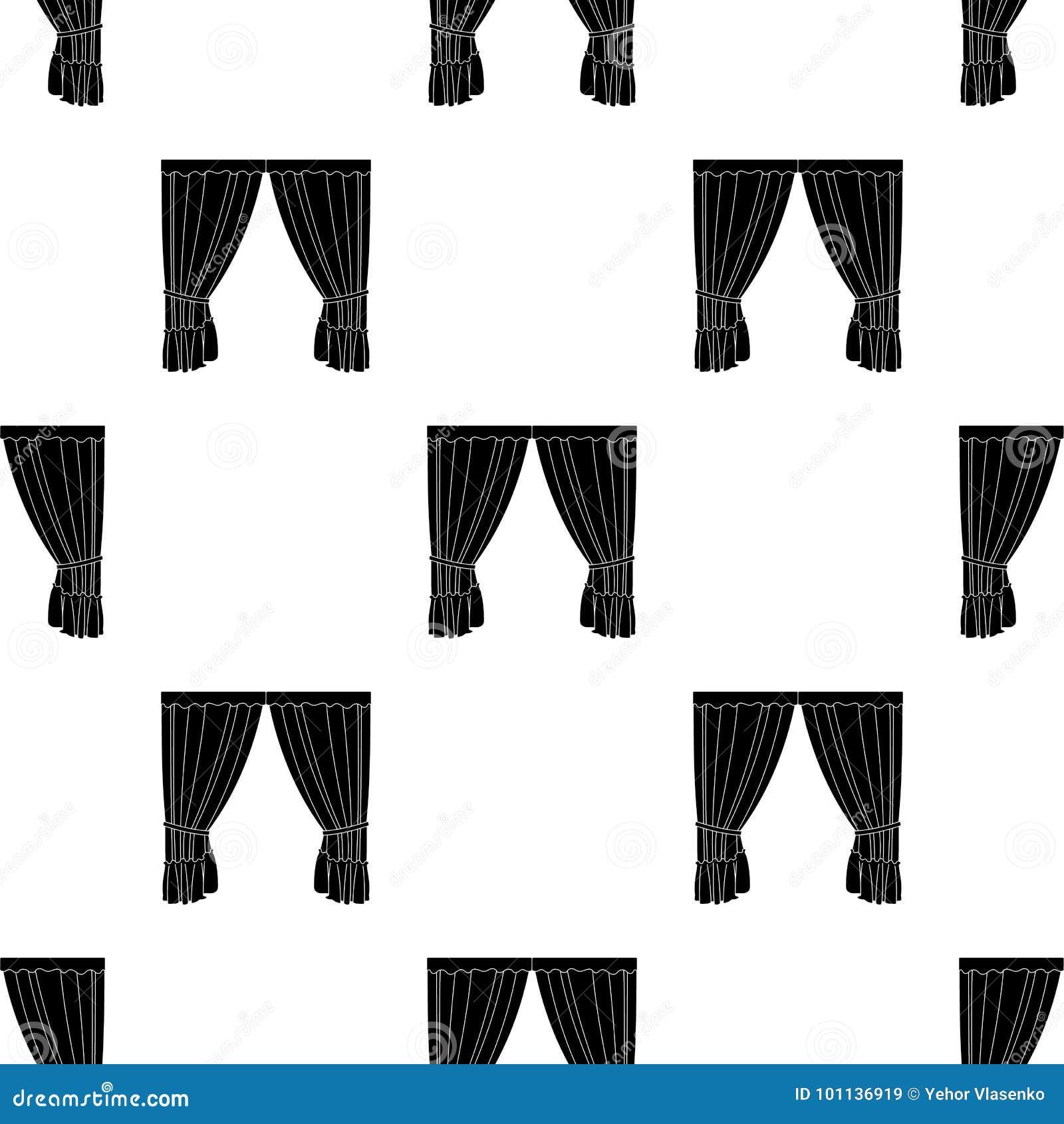 Занавесы с drapery на карнизе Занавесы определяют значок в черной сети иллюстрации запаса символа вектора стиля