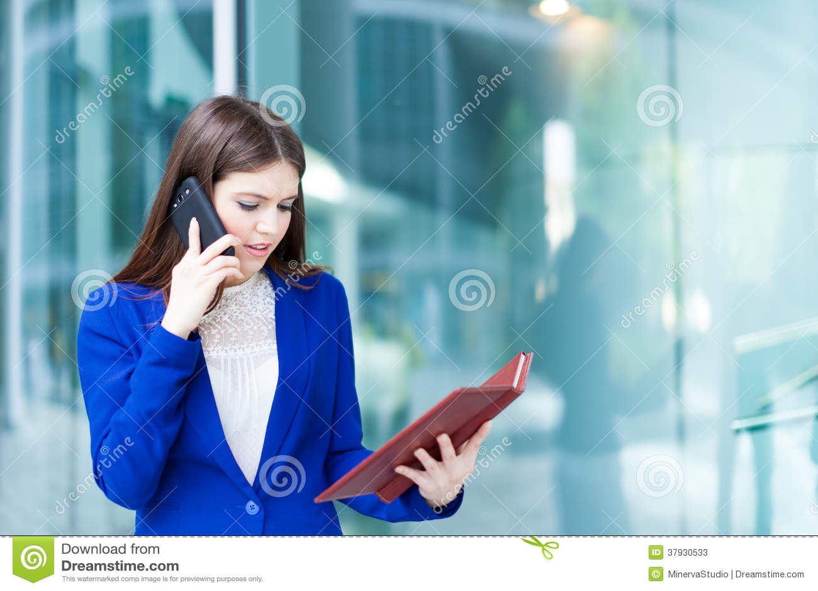 Занятая коммерсантка на работе
