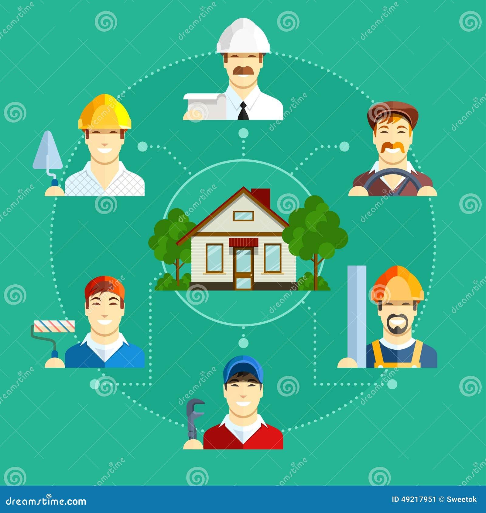 Занятие здания с домом Комплект плоских значков
