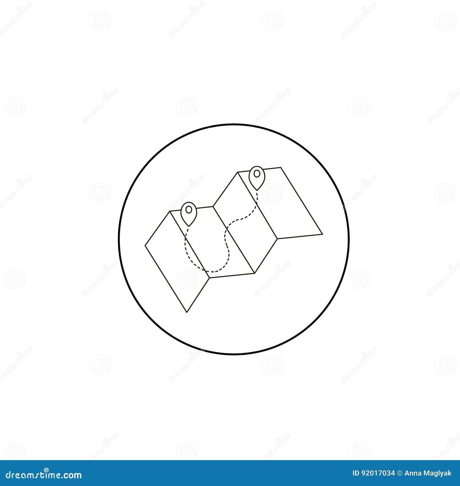 Заострять на значке карты в тонкой линии стиле изолированном на серой предпосылке Символ указателя карты метки Geolocation для ва