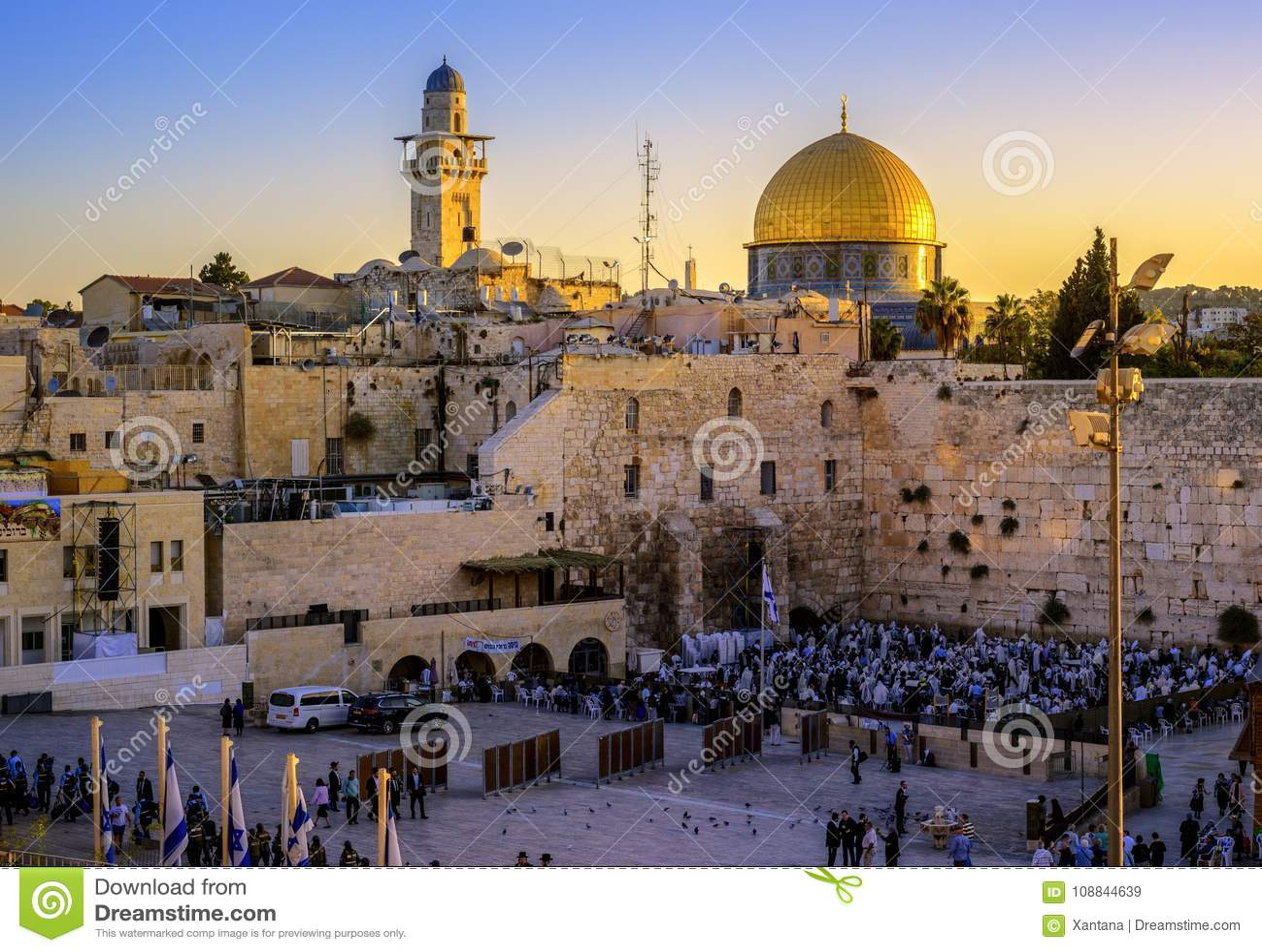 Западная мечеть стены и Golden Dome, Иерусалим, Израиль