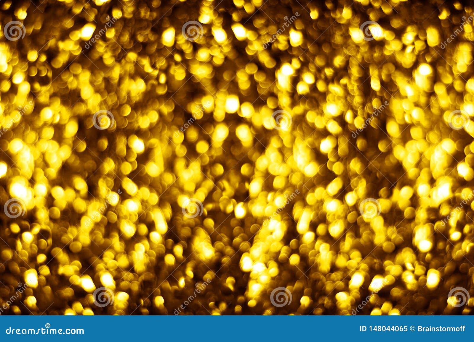 Запачканная золотая сияющая предпосылка bokeh яркого блеска, defocused желтый дизайн фона shimmer, пузыри золота сияющие круглые