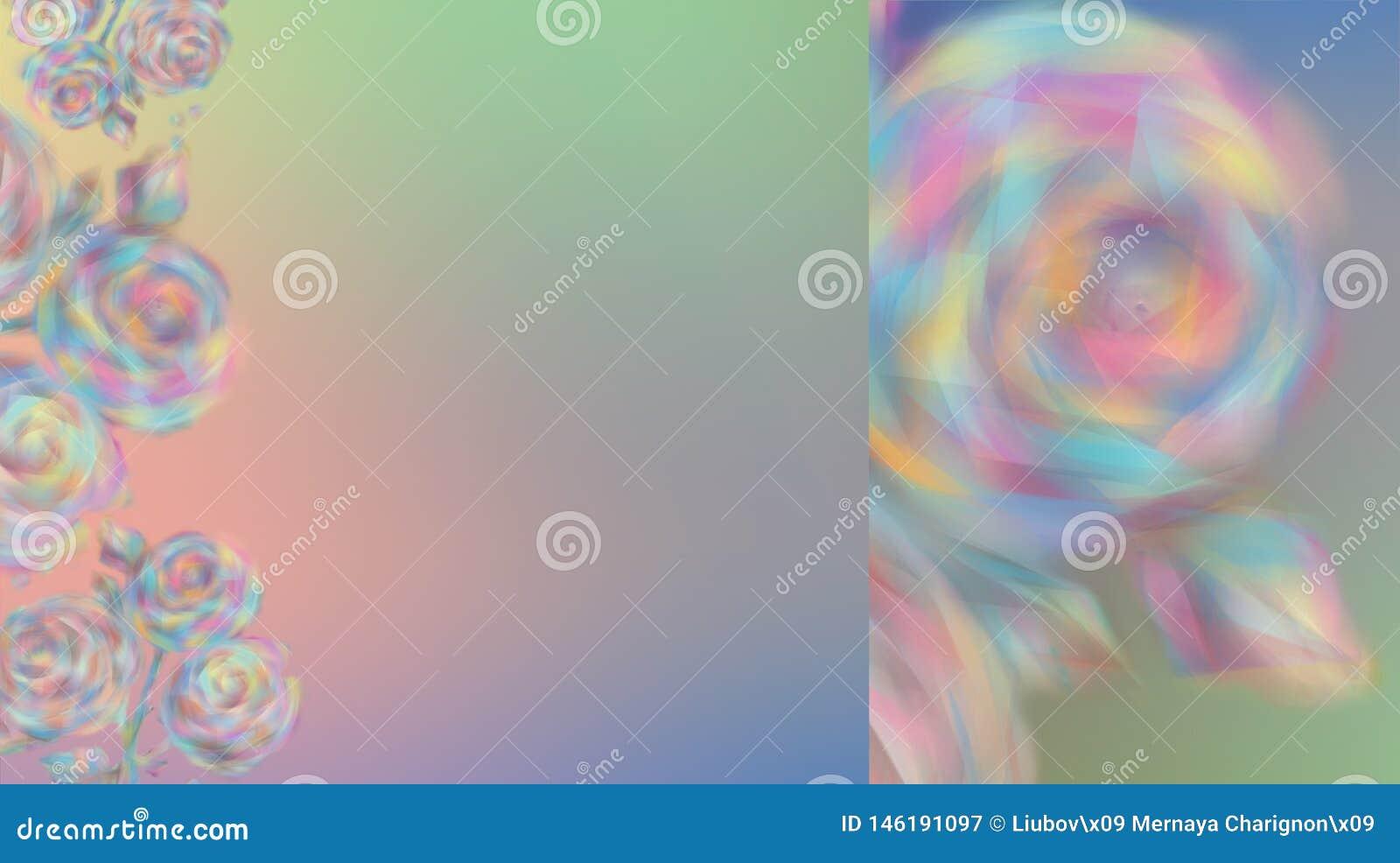 Запачканные розовые цветки на красивой предпосылке цвета радуги