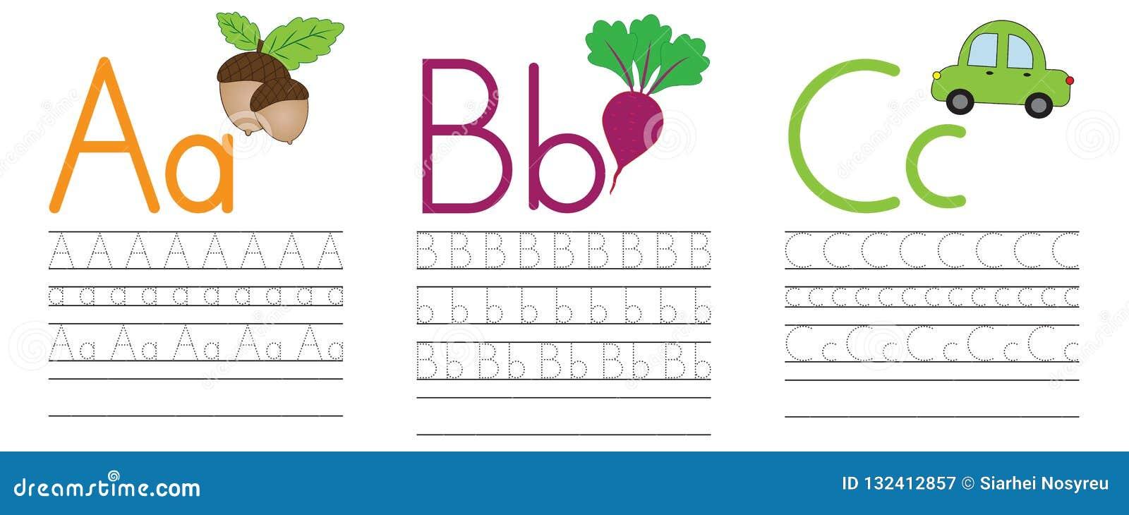 Запись практики писем a, b, c голубая икона образования детей Vecto