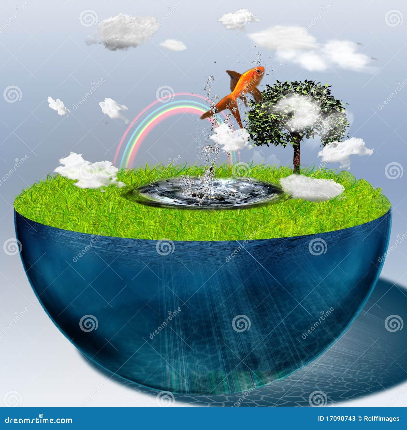 заполненная вода половинной сферы
