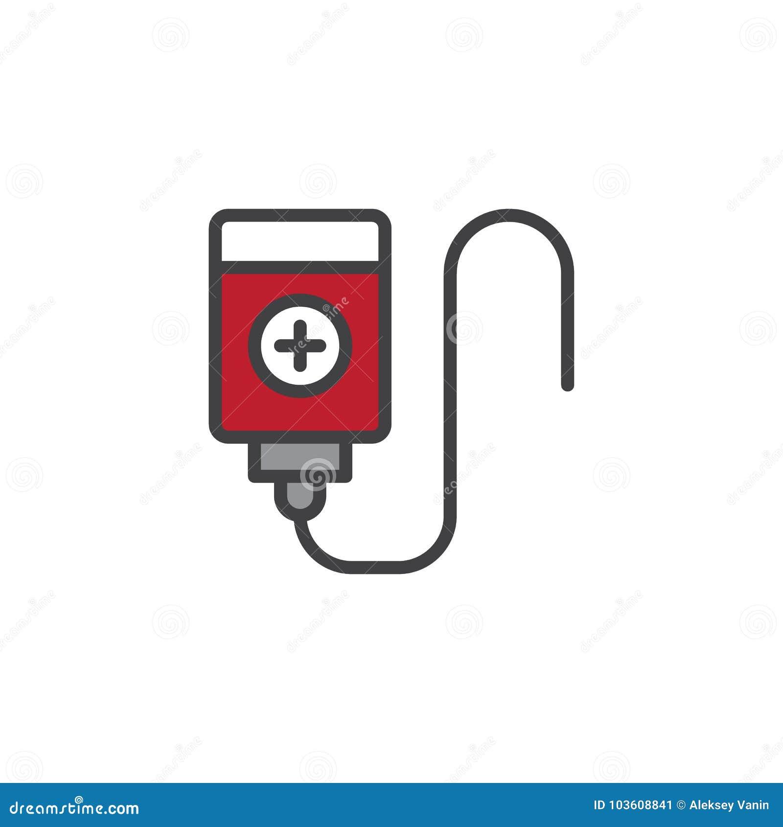 Заполненный переливанием крови значок плана