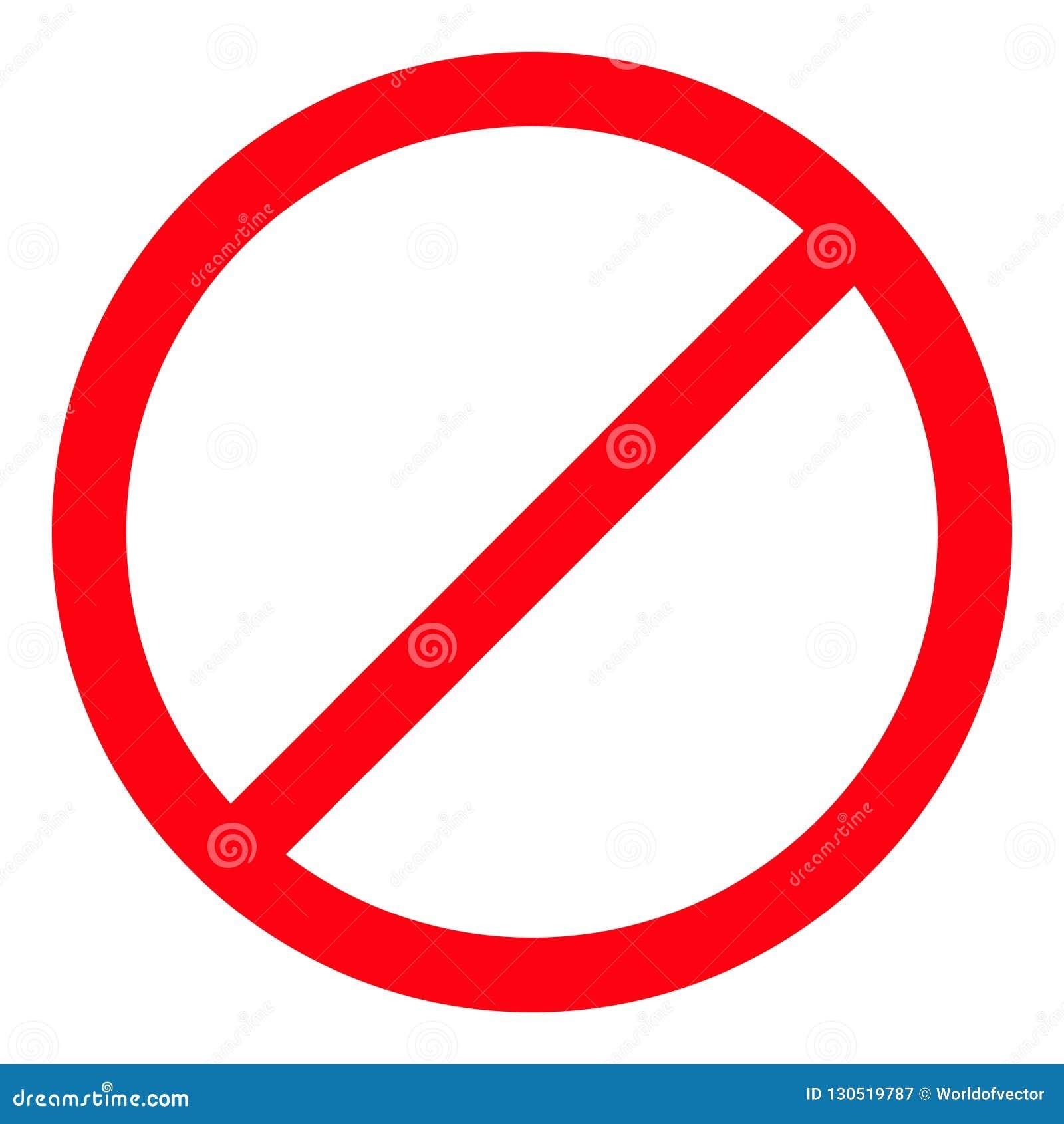 Запрет отсутствие символа Красный круглый предупредительный знак стопа шаблон Белая предпосылка изолировано Плоский дизайн