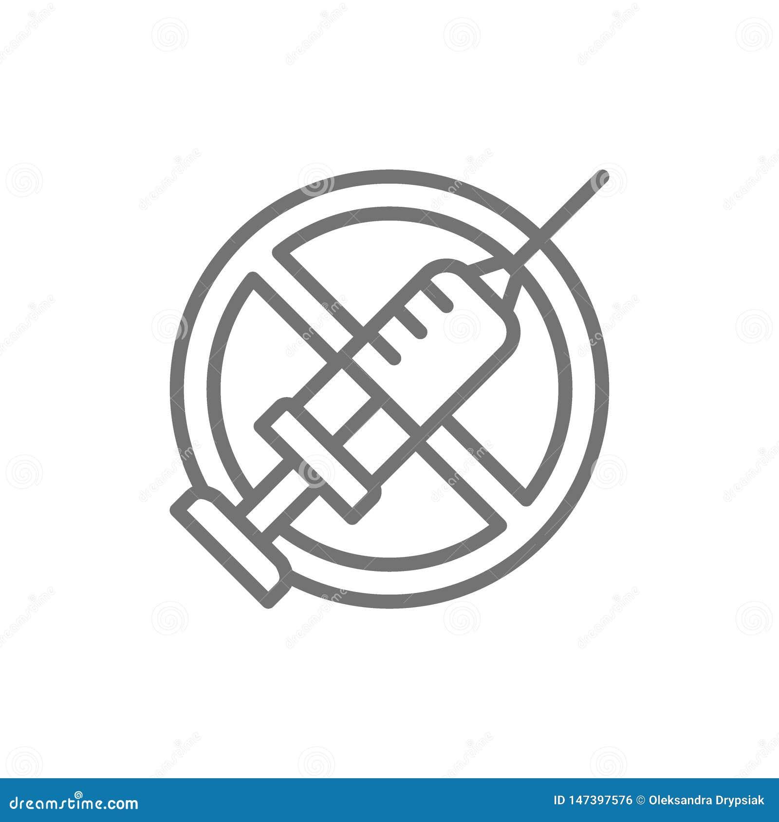 Запрещенный знак со шприцем, отсутствие вакцинирования, отсутствие линии значка впрыски
