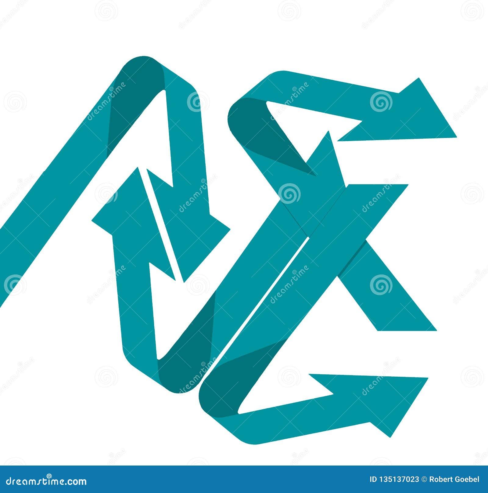 Запутанность и хаос тема проиллюстрированная 4 стрелками гнуть в различных направлениях в этом фоновом изображении