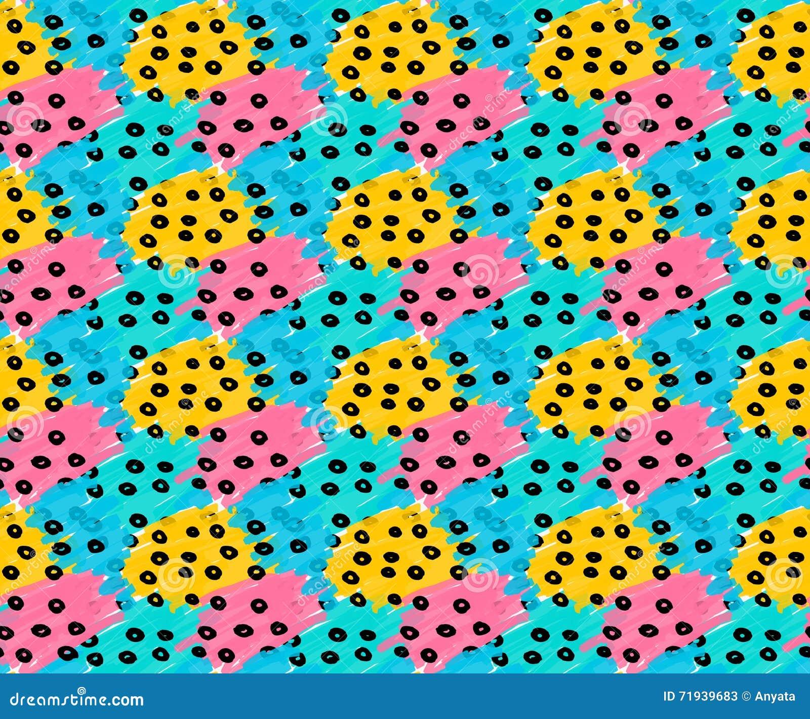 Заплаты нарисованные отметкой голубые розовые желтые с черными точками