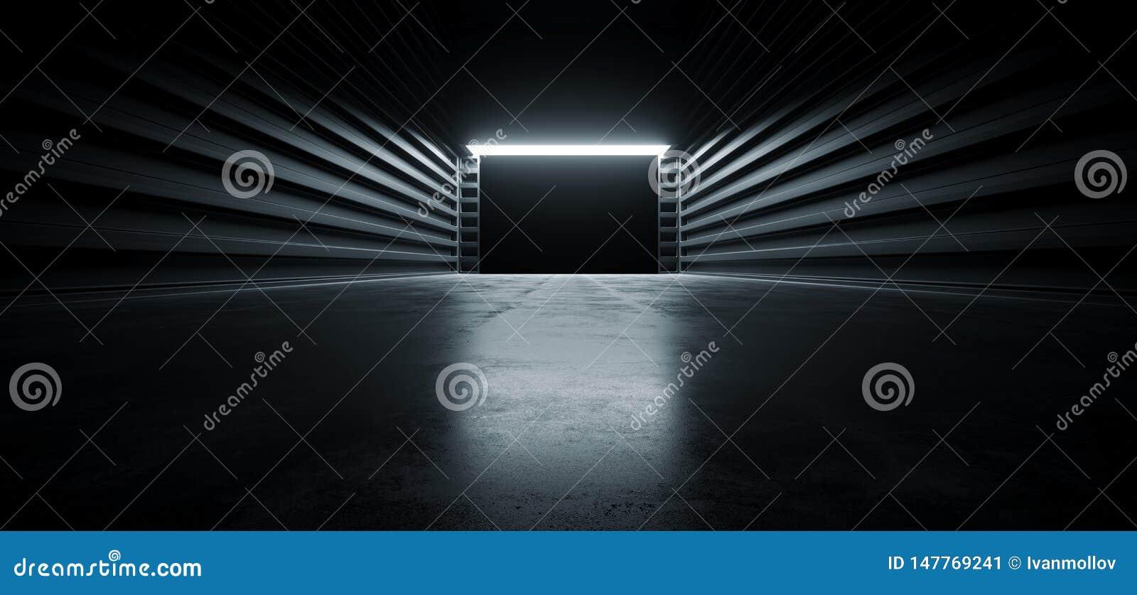 Зарево темного кинематографического футуристического современного космоса Grunge металла коридора тоннеля выставочного зала гараж