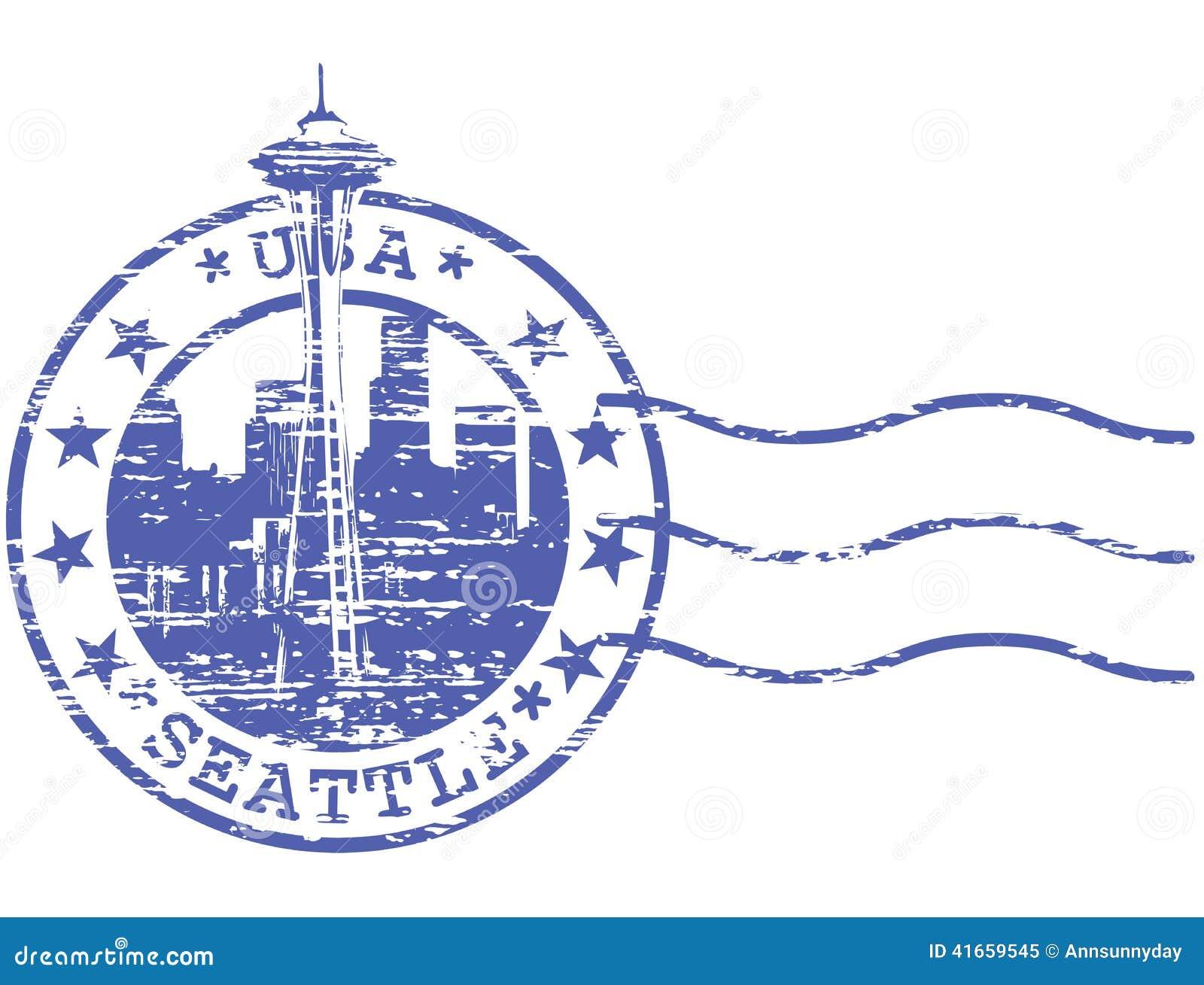 Затрапезный штемпель с городским пейзажем Сиэтл