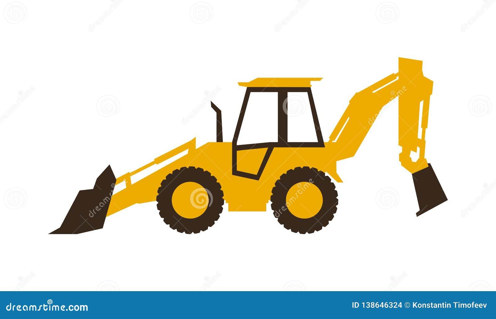 Затяжелитель backhoe значка белизна предмета машинного оборудования конструкции предпосылки изолированная землечерпалкой также ве