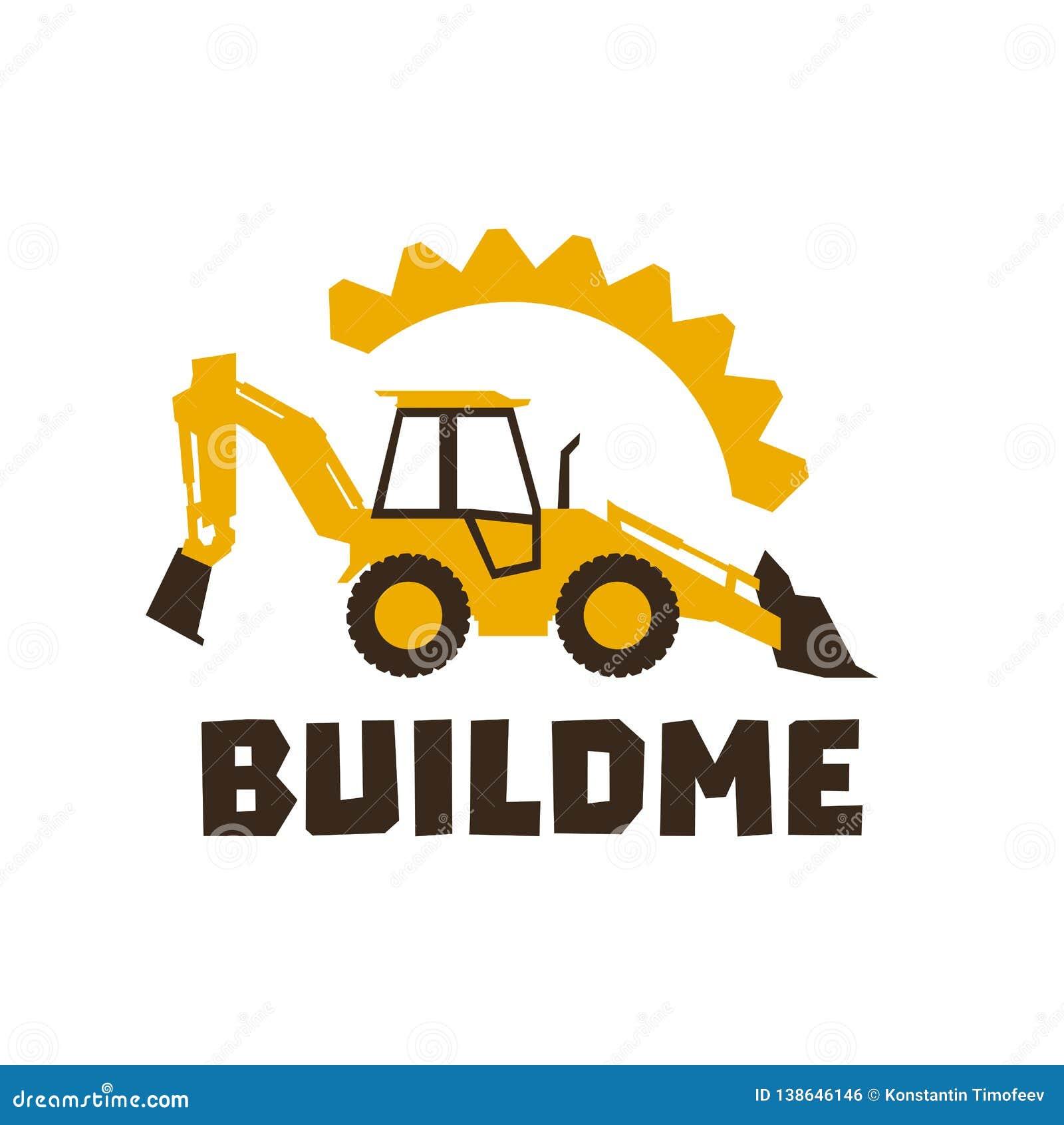 Затяжелитель backhoe логотипа Оранжевое строительное оборудование На фоне шестерней Изолированный предмет вектор