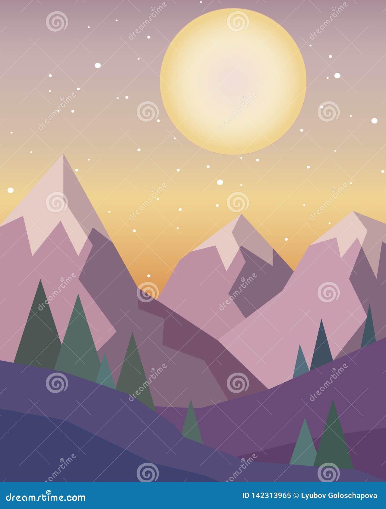 Заход солнца в горах с красным солнцем на небе в геометрическом стиле