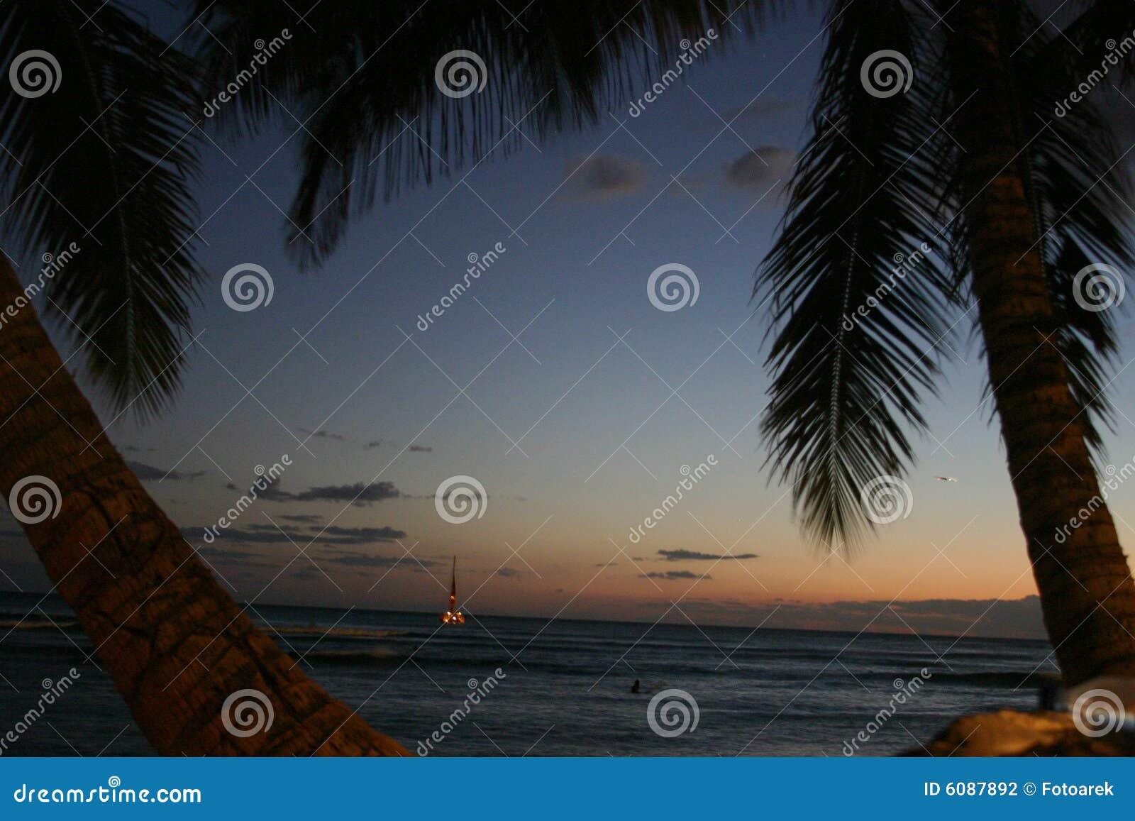 заход солнца Гавайских островов