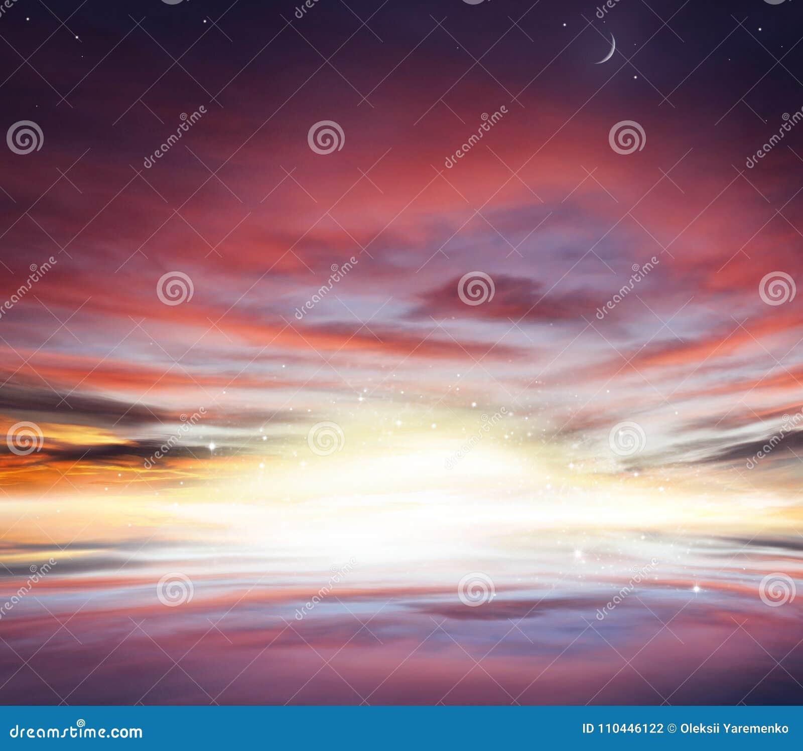 Заход солнца и восход солнца в небе предпосылка ramadan