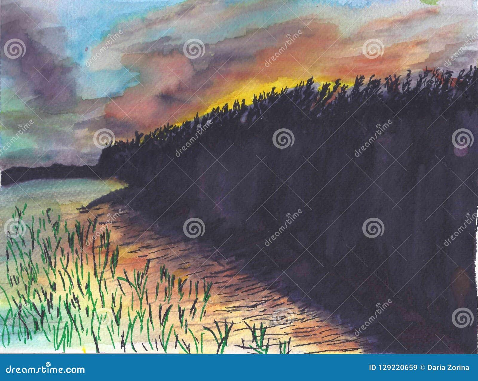 Заход солнца над озером