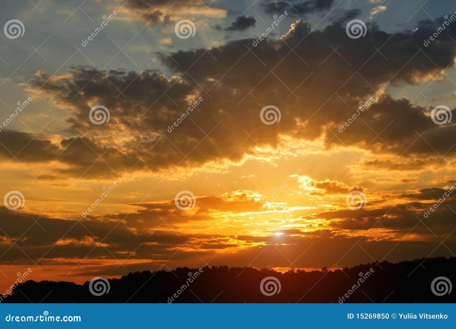 заход солнца неба