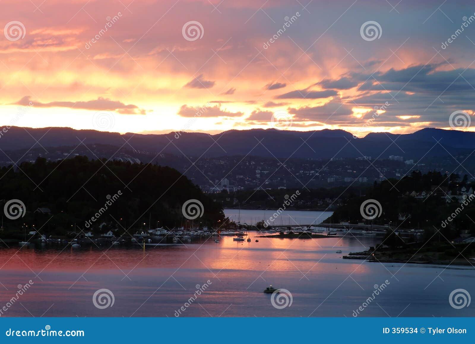 заход солнца Осло фьорда