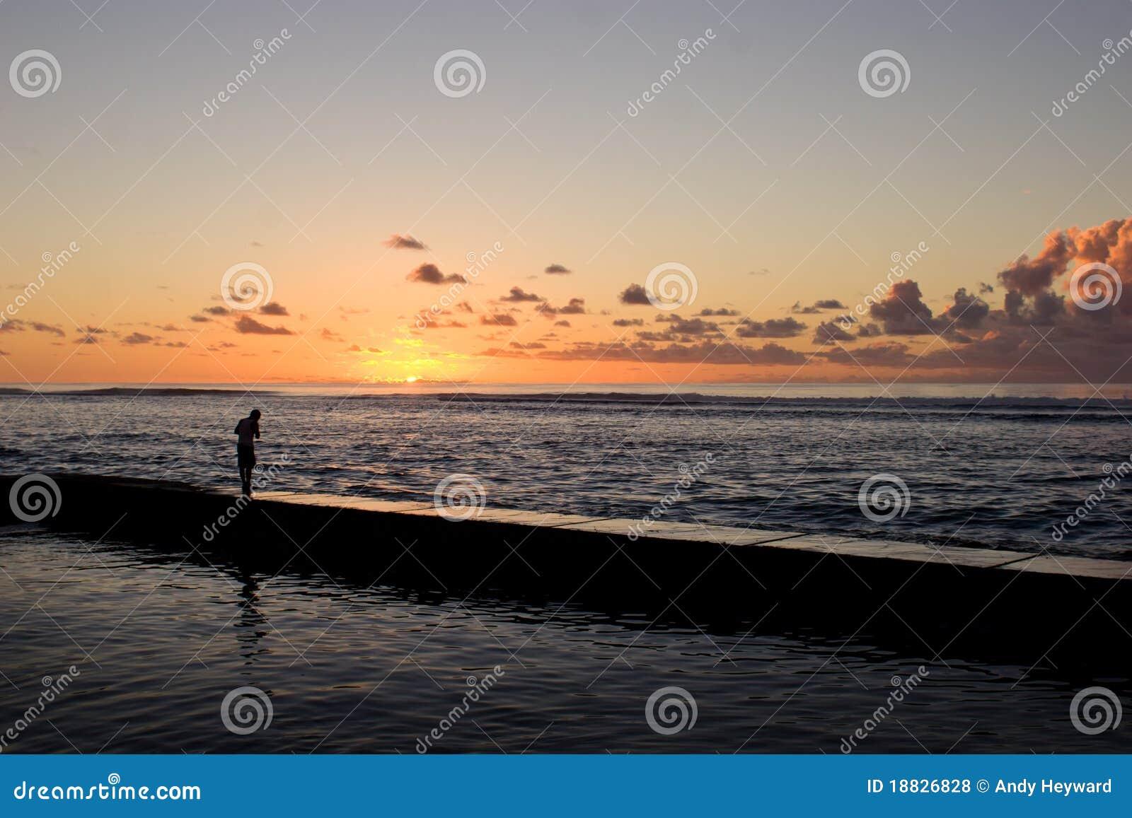 заход солнца рыболовства
